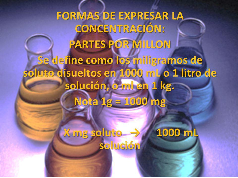 FORMAS DE EXPRESAR LA CONCENTRACIÓN: X mg soluto → 1000 mL solución