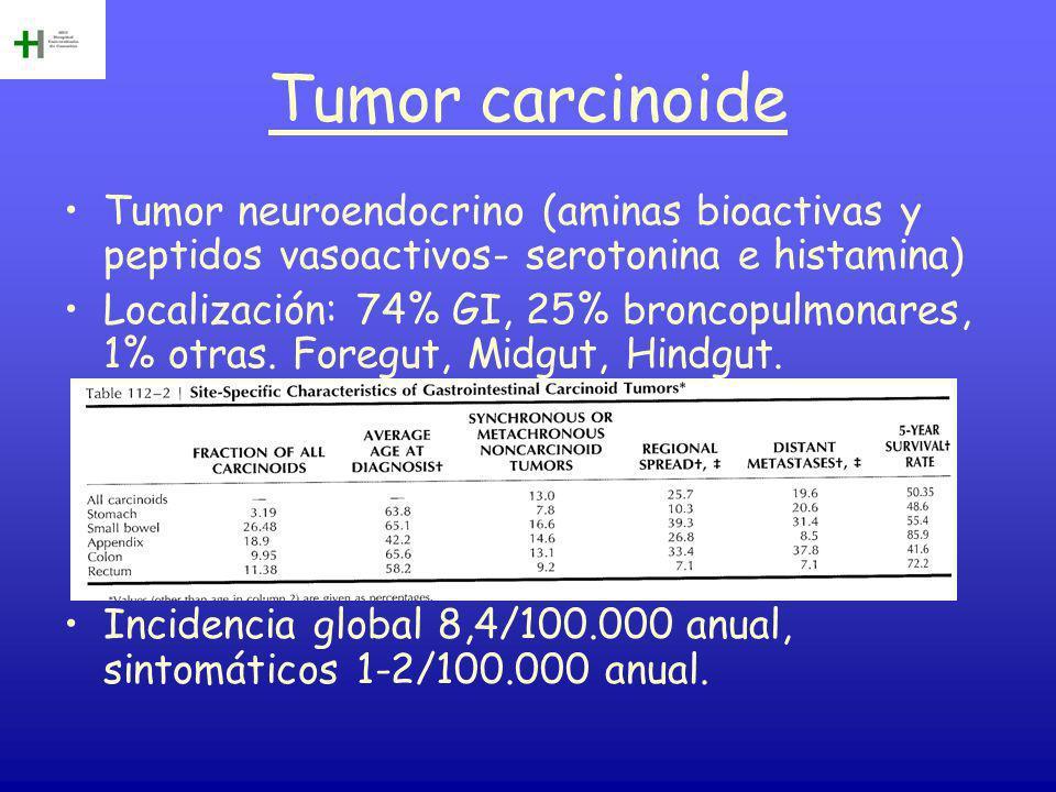 Tumor carcinoide Tumor neuroendocrino (aminas bioactivas y peptidos vasoactivos- serotonina e histamina)