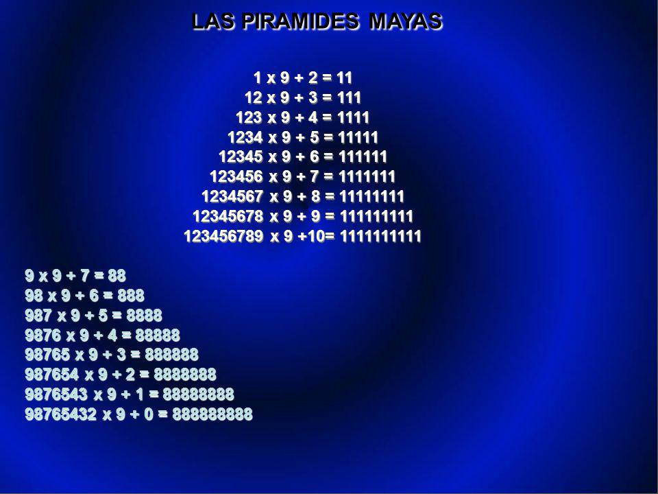 LAS PIRAMIDES MAYAS 1 x 9 + 2 = 11 12 x 9 + 3 = 111 123 x 9 + 4 = 1111