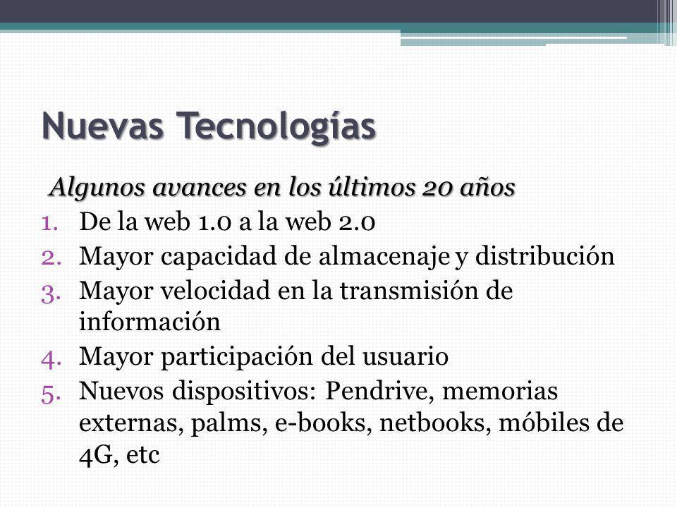 Nuevas Tecnologías Algunos avances en los últimos 20 años