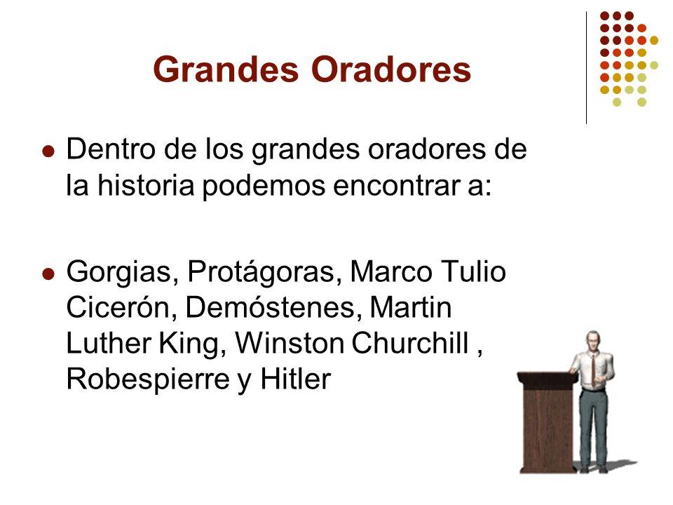 Grandes Oradores Dentro de los grandes oradores de la historia podemos encontrar a: