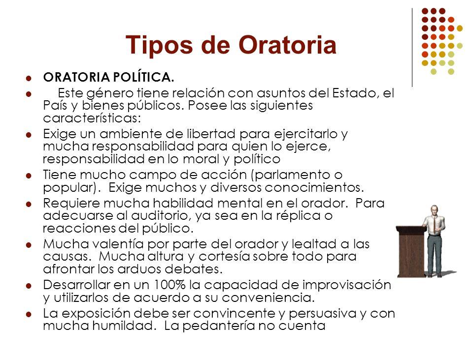 Tipos de Oratoria ORATORIA POLÍTICA.