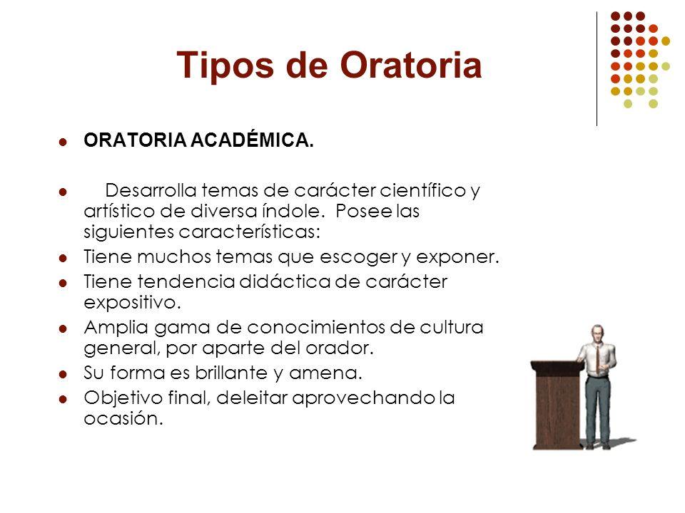 Tipos de Oratoria ORATORIA ACADÉMICA.