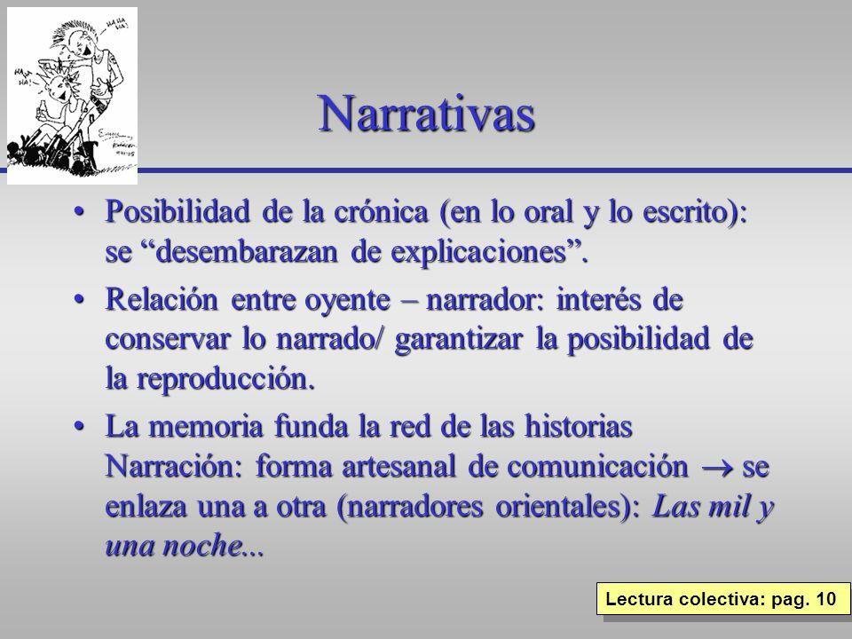 Narrativas Posibilidad de la crónica (en lo oral y lo escrito): se desembarazan de explicaciones .