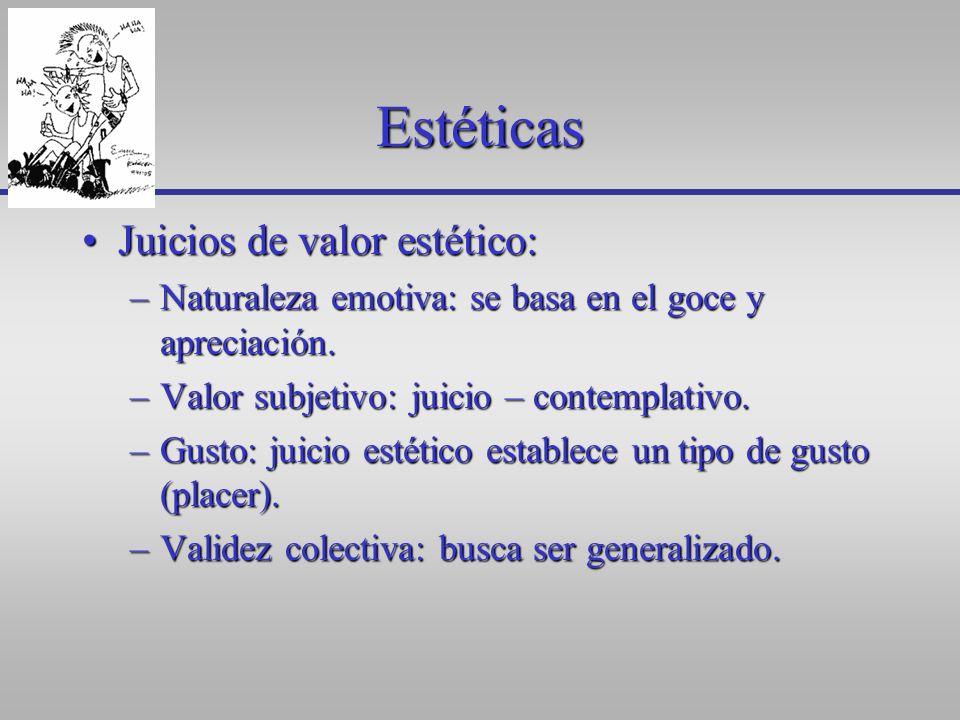 Estéticas Juicios de valor estético: