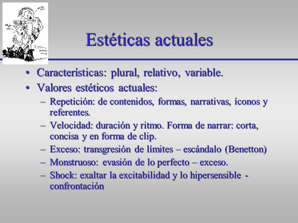Estéticas actuales Características: plural, relativo, variable.