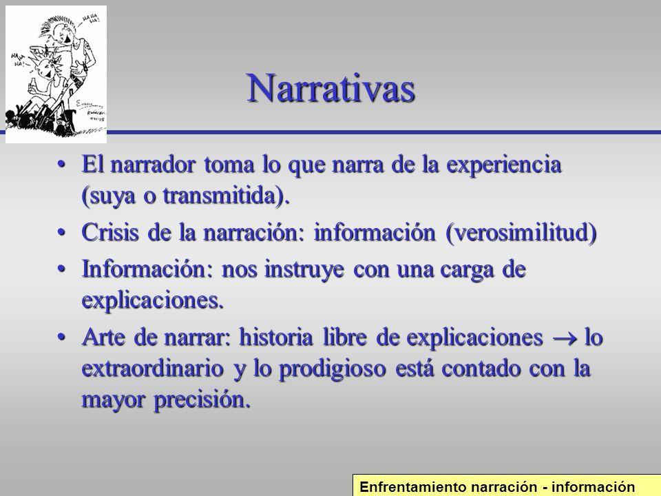Narrativas El narrador toma lo que narra de la experiencia (suya o transmitida). Crisis de la narración: información (verosimilitud)
