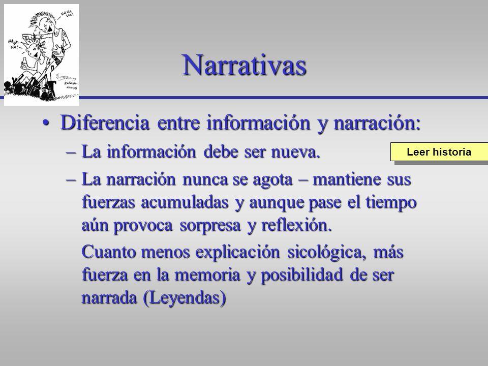 Narrativas Diferencia entre información y narración: