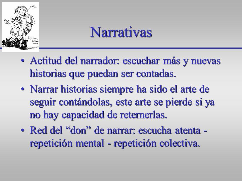 Narrativas Actitud del narrador: escuchar más y nuevas historias que puedan ser contadas.