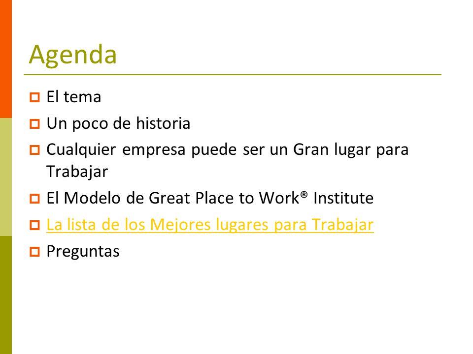 Agenda El tema Un poco de historia