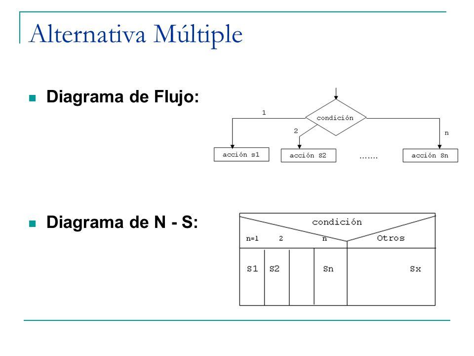 Alternativa Múltiple Diagrama de Flujo: Diagrama de N - S: