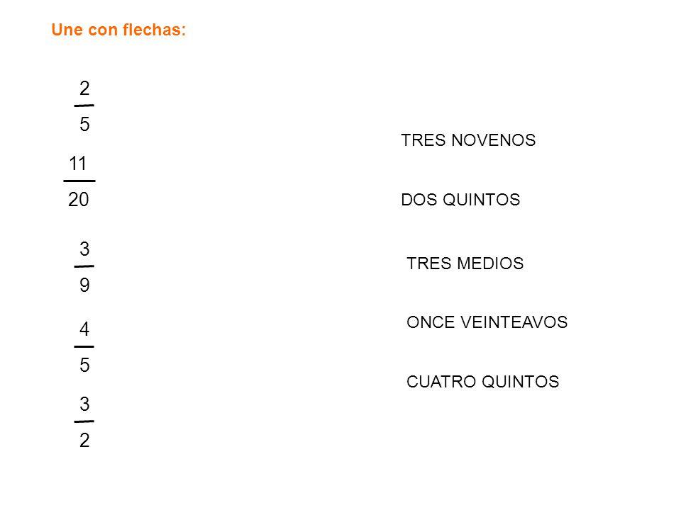 2 5 11 20 3 9 4 5 3 2 Une con flechas: TRES NOVENOS DOS QUINTOS