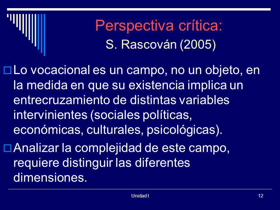 Perspectiva crítica: S. Rascován (2005)