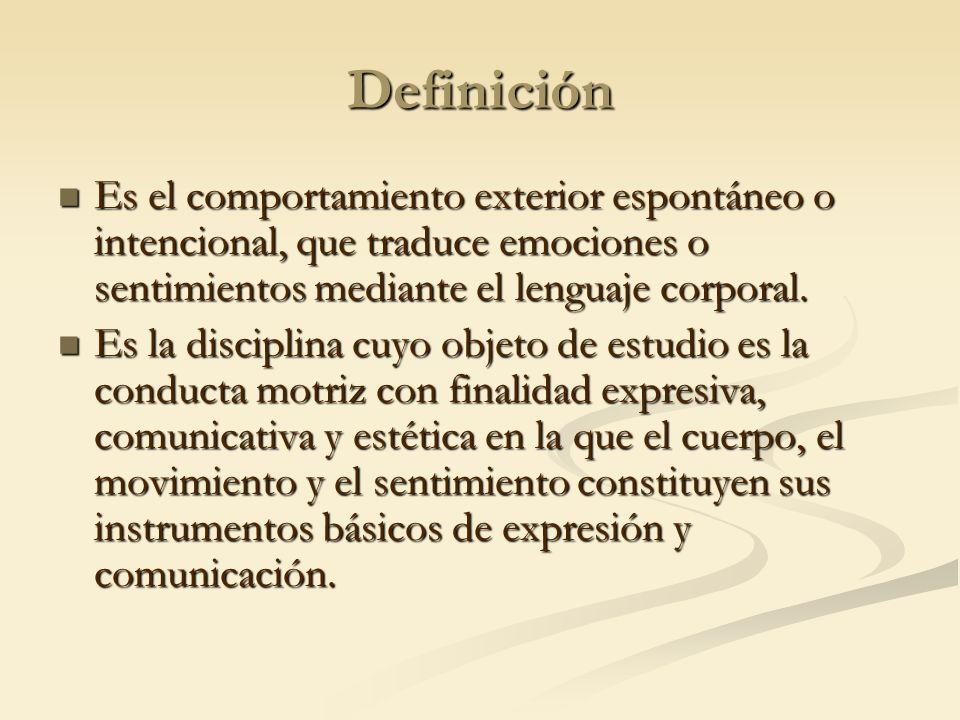 Definición Es el comportamiento exterior espontáneo o intencional, que traduce emociones o sentimientos mediante el lenguaje corporal.