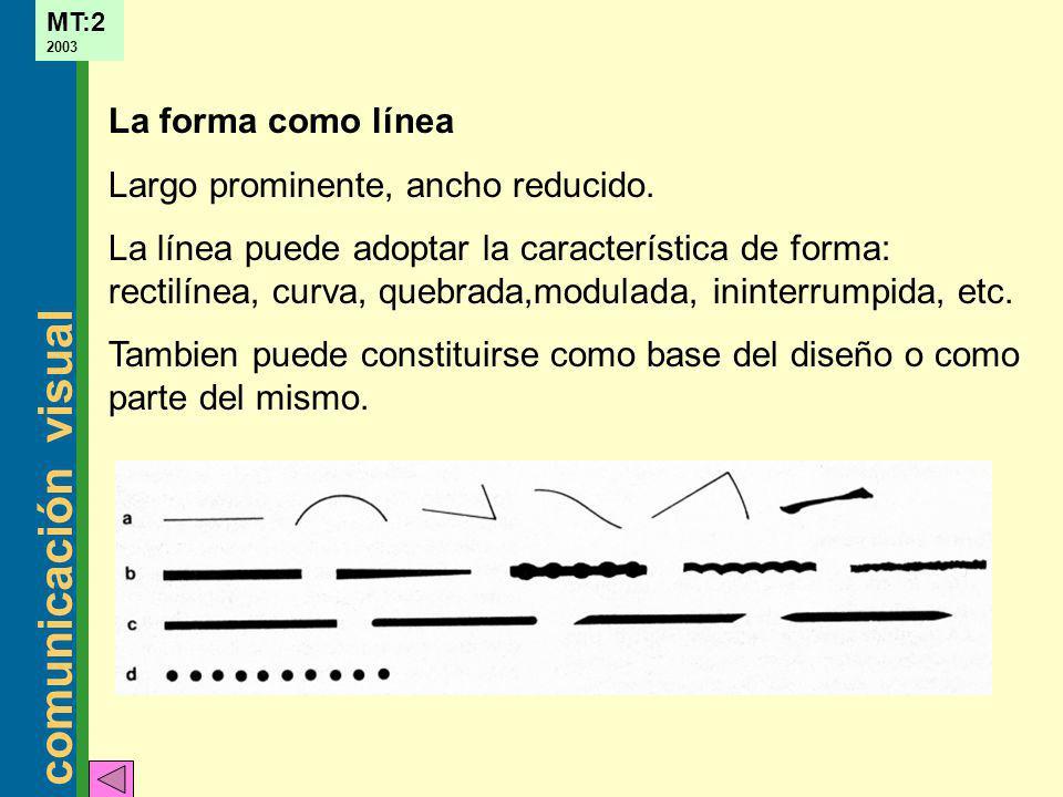 La forma como línea Largo prominente, ancho reducido.
