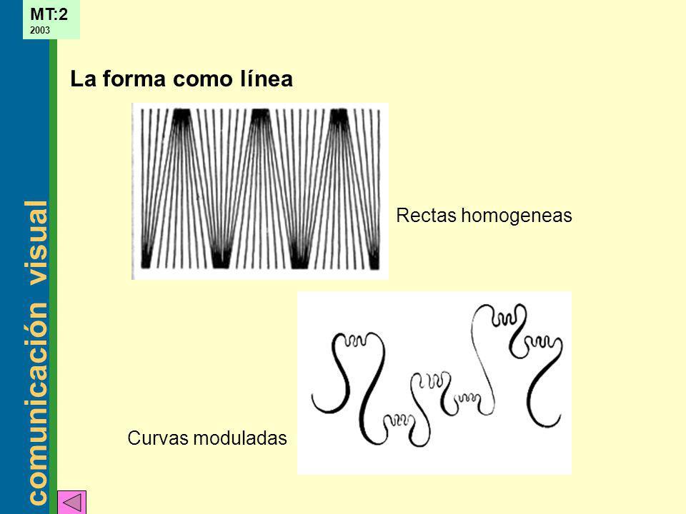La forma como línea Rectas homogeneas Curvas moduladas