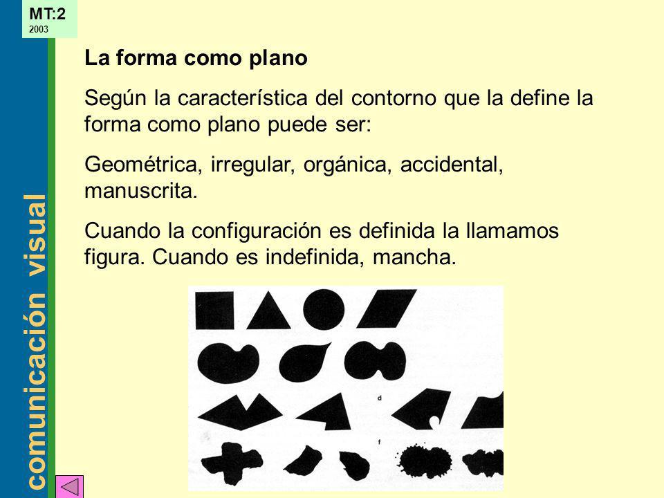 La forma como plano Según la característica del contorno que la define la forma como plano puede ser: