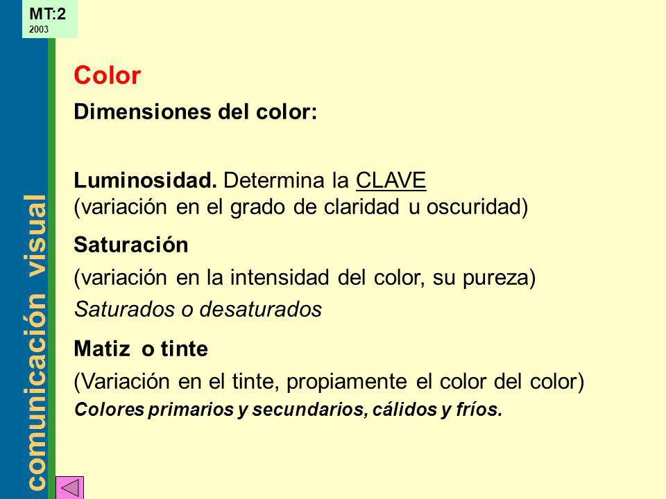 Color Dimensiones del color: Luminosidad. Determina la CLAVE