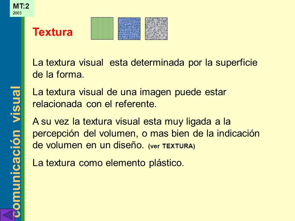 Textura La textura visual esta determinada por la superficie de la forma. La textura visual de una imagen puede estar relacionada con el referente.