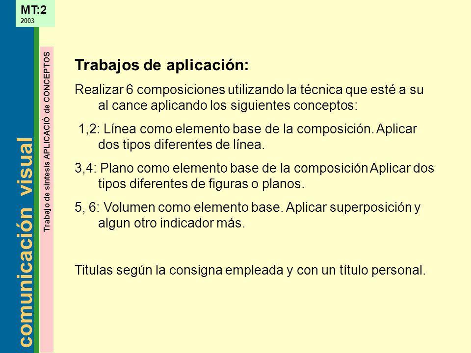 Trabajos de aplicación: