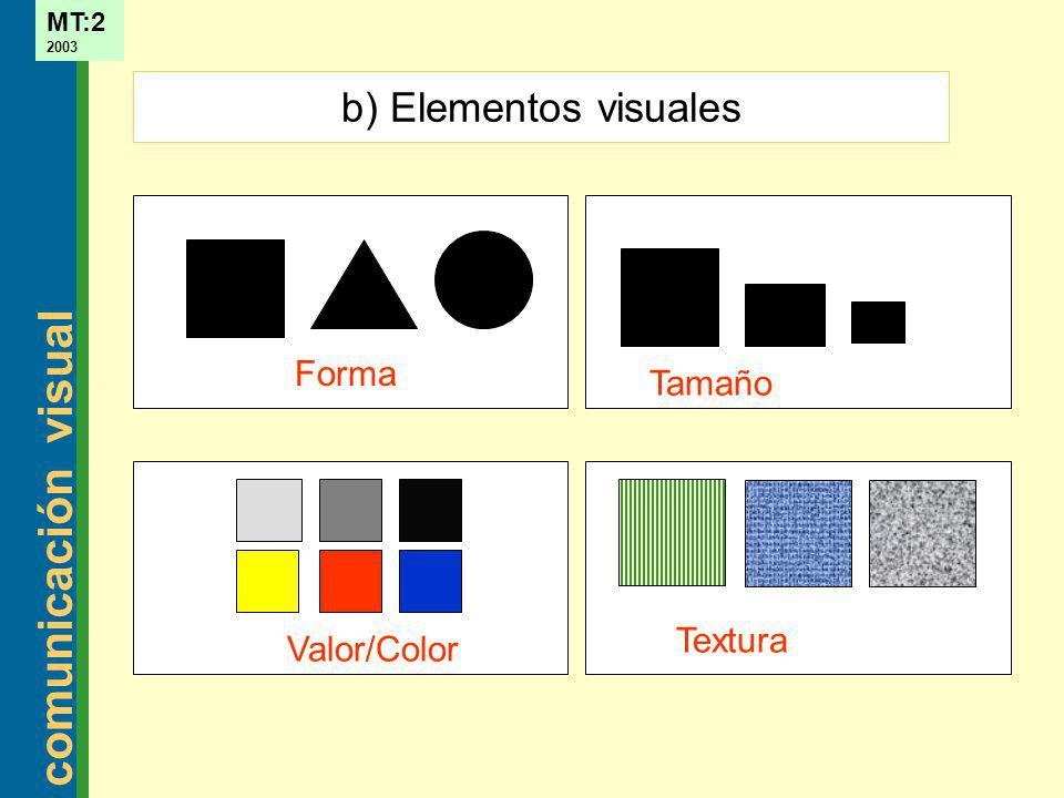 b) Elementos visuales Forma Tamaño Textura Valor/Color
