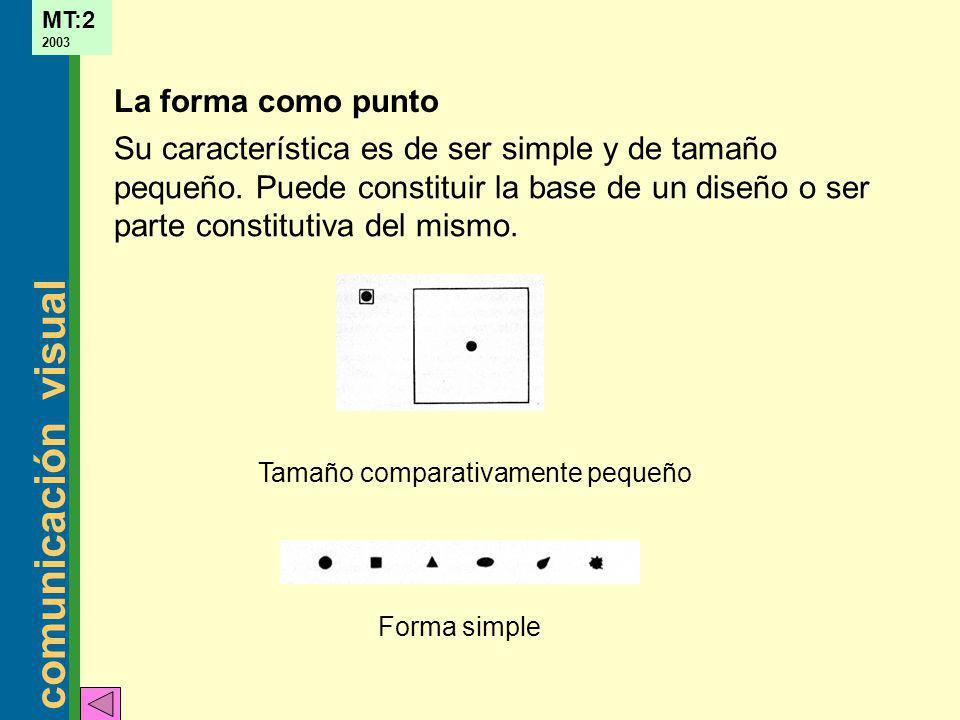 La forma como punto Su característica es de ser simple y de tamaño pequeño. Puede constituir la base de un diseño o ser parte constitutiva del mismo.