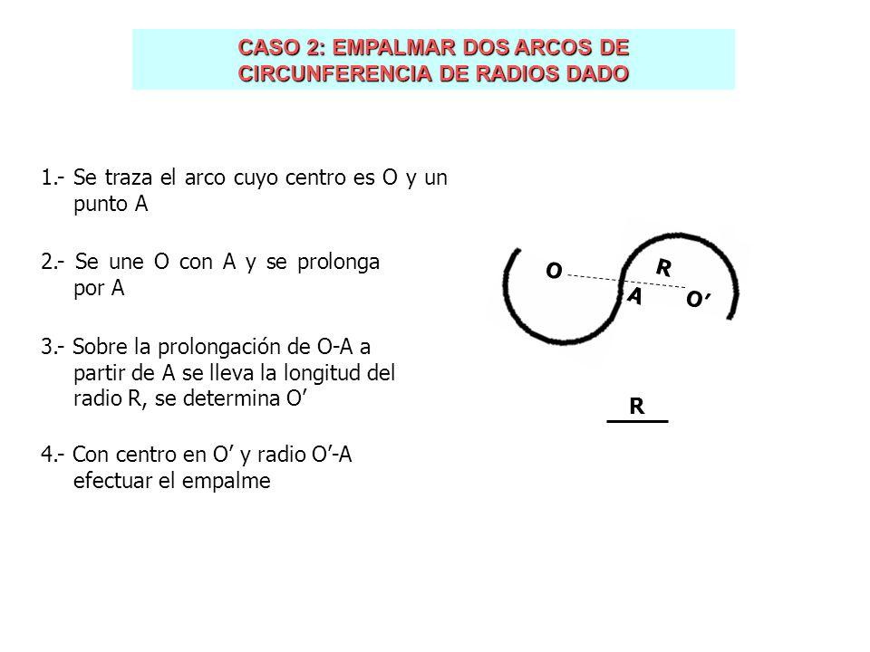 CASO 2: EMPALMAR DOS ARCOS DE CIRCUNFERENCIA DE RADIOS DADO