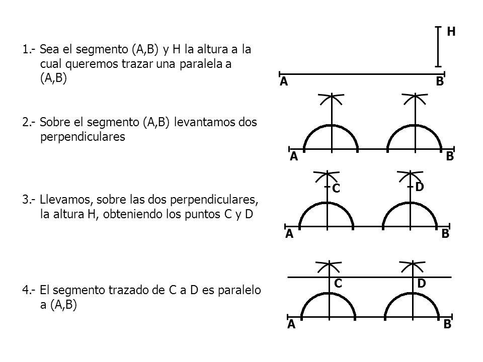 H 1.- Sea el segmento (A,B) y H la altura a la cual queremos trazar una paralela a (A,B) A. B.