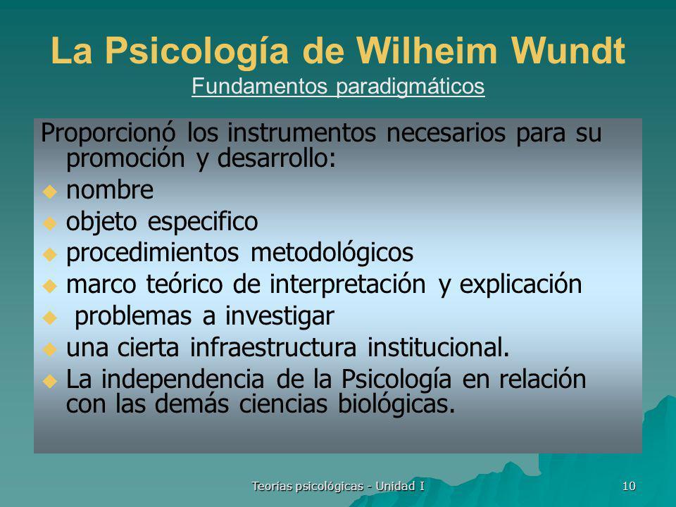 La Psicología de Wilheim Wundt Fundamentos paradigmáticos