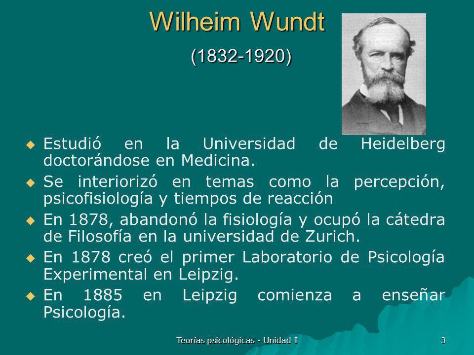 Teorías psicológicas - Unidad I