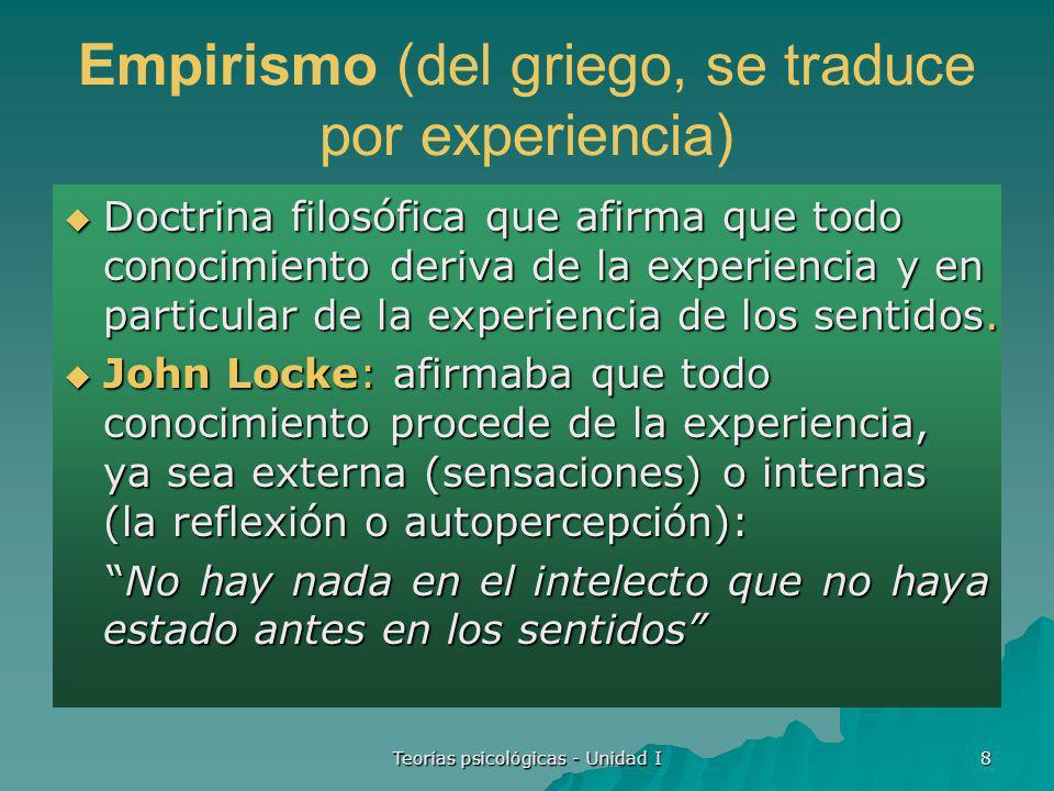 Empirismo (del griego, se traduce por experiencia)