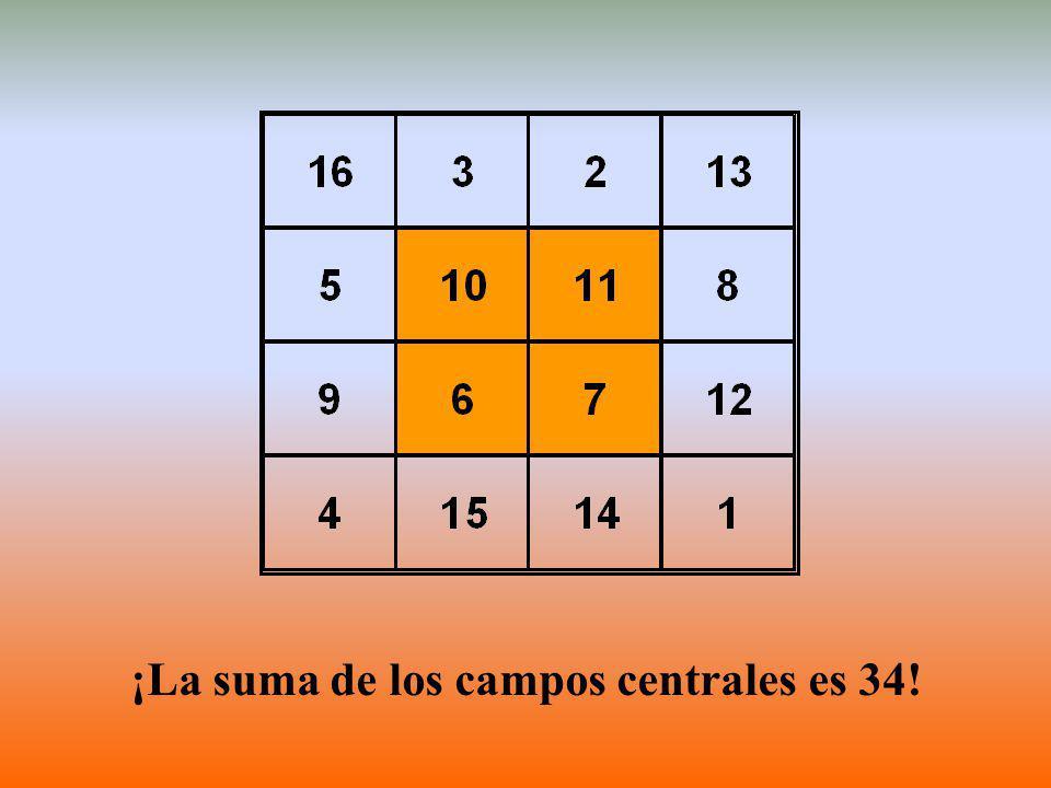 ¡La suma de los campos centrales es 34!