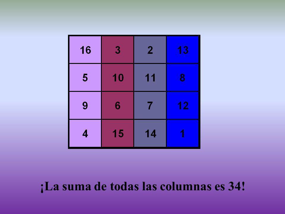 ¡La suma de todas las columnas es 34!
