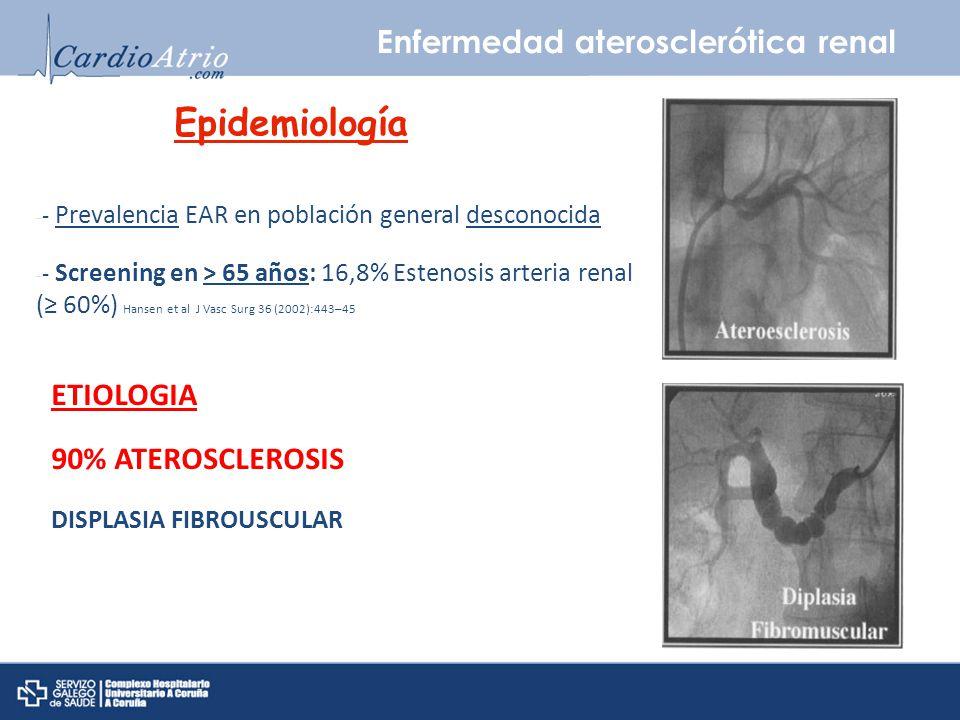 Epidemiología Enfermedad aterosclerótica renal ETIOLOGIA