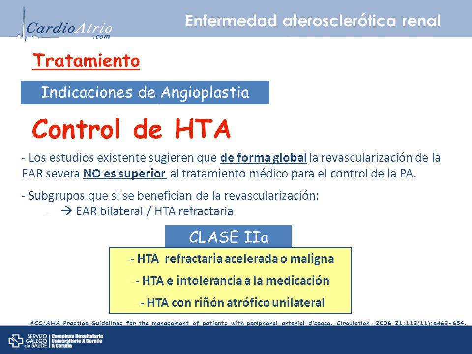 Control de HTA Tratamiento Enfermedad aterosclerótica renal