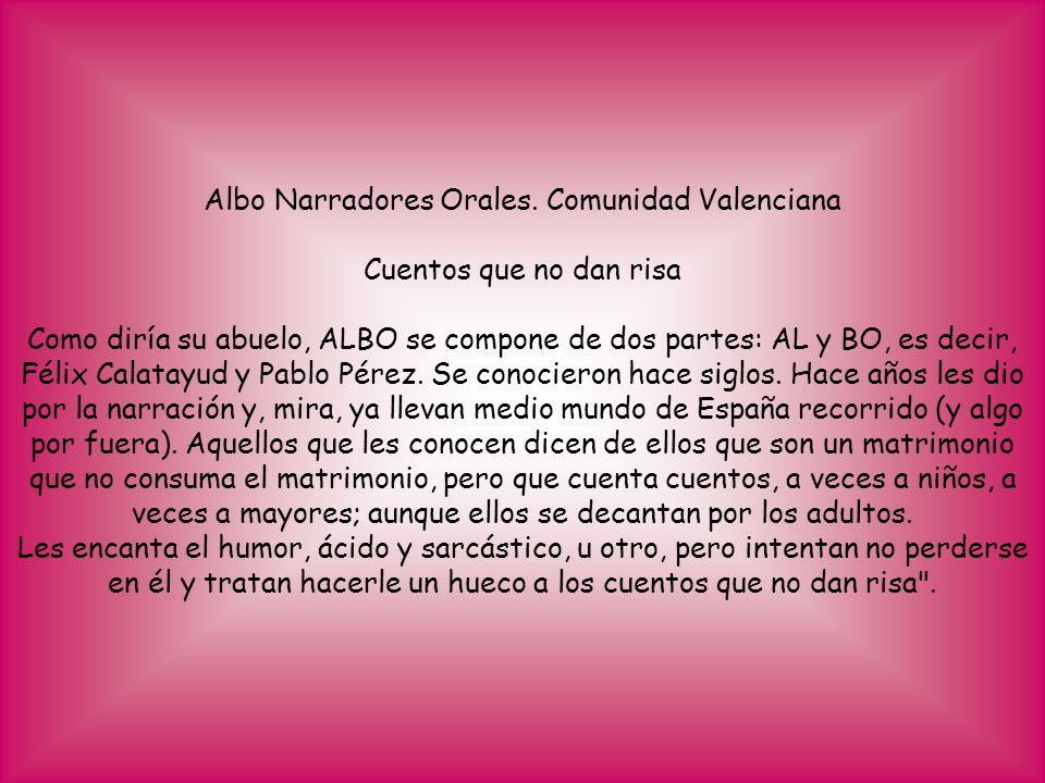 Albo Narradores Orales. Comunidad Valenciana