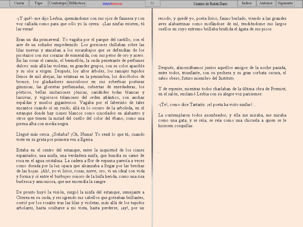51 interlectores Cuentos de Rubén Dario