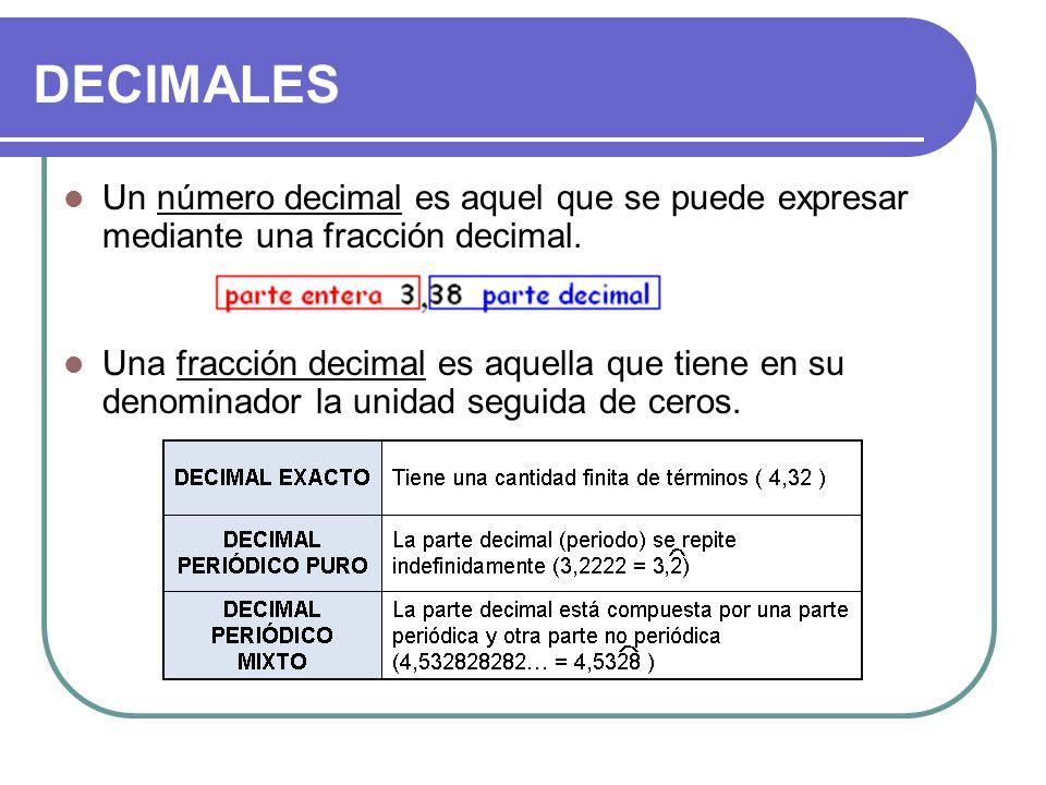 DECIMALES Un número decimal es aquel que se puede expresar mediante una fracción decimal.