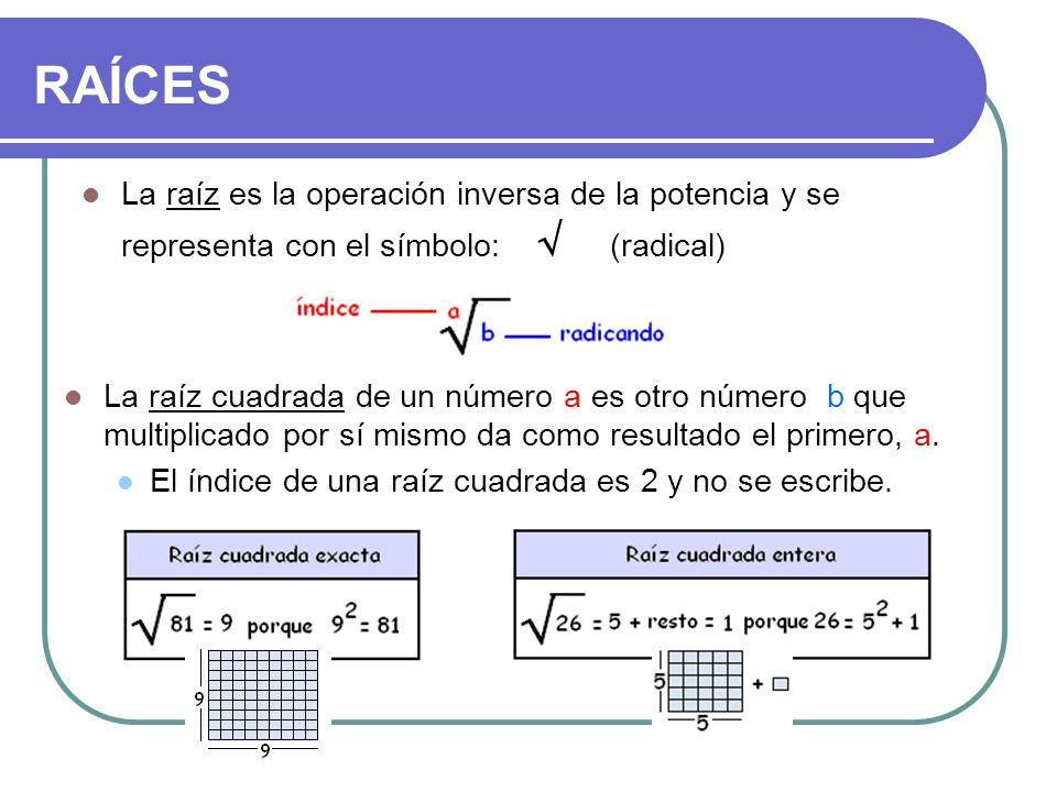 RAÍCES La raíz es la operación inversa de la potencia y se representa con el símbolo: √ (radical)