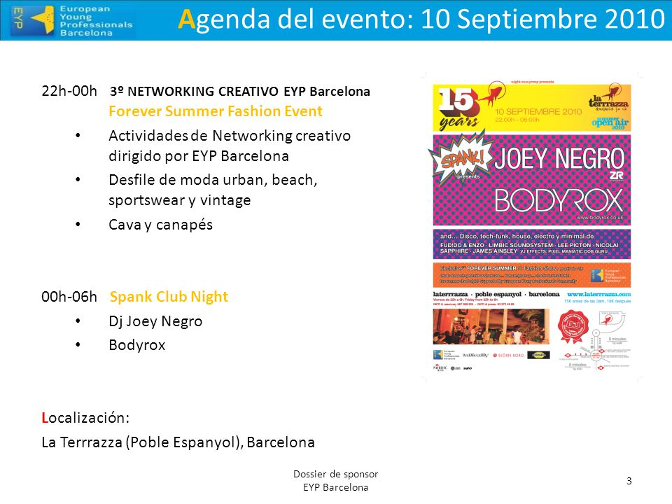 Agenda del evento: 10 Septiembre 2010