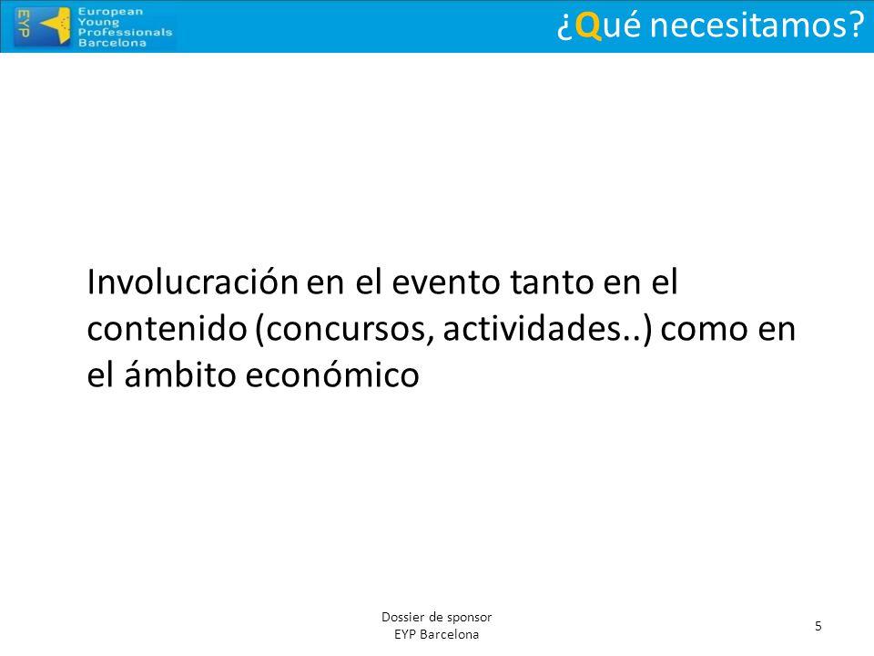 ¿Qué necesitamos Involucración en el evento tanto en el contenido (concursos, actividades..) como en el ámbito económico.