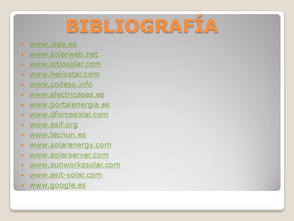BIBLIOGRAFÍA www.idae.es www.solarweb.net www.sitiosolar.com
