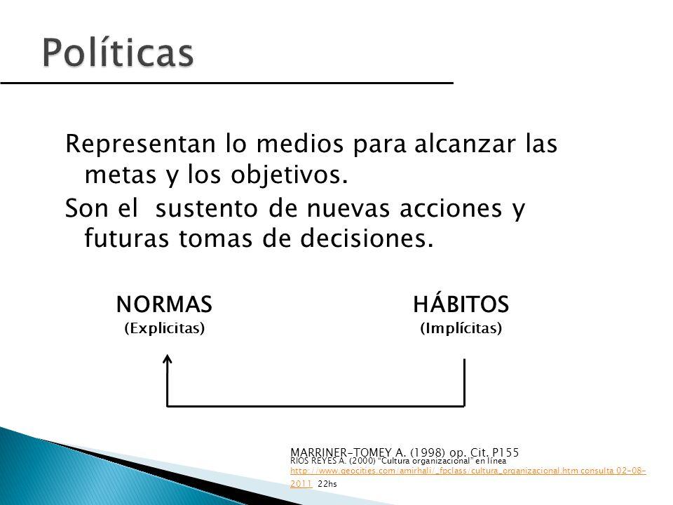Políticas Representan lo medios para alcanzar las metas y los objetivos. Son el sustento de nuevas acciones y futuras tomas de decisiones.