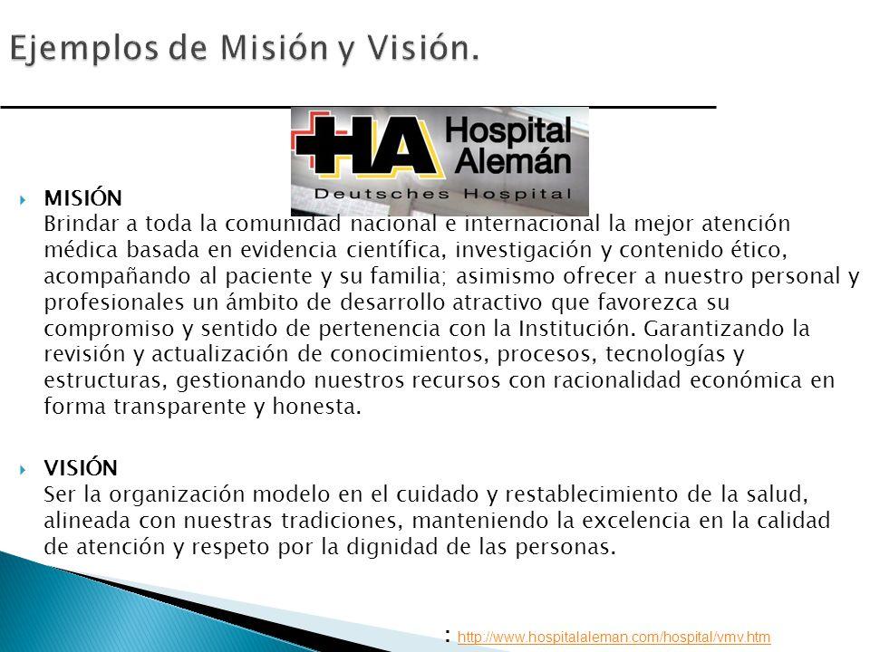 Ejemplos de Misión y Visión.