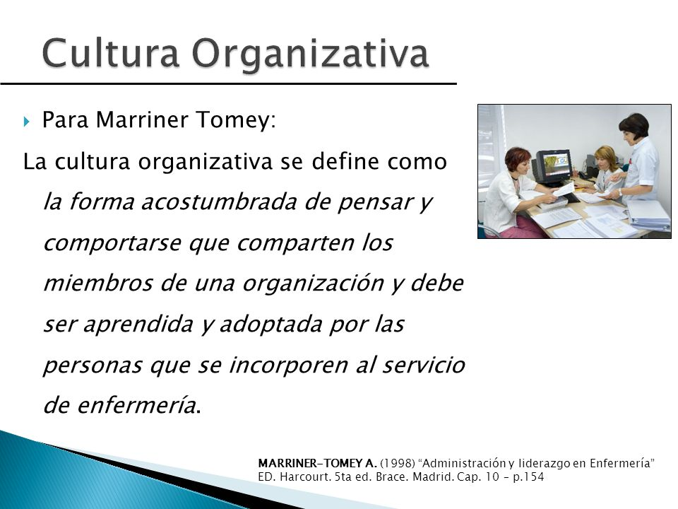 Cultura Organizativa Para Marriner Tomey: