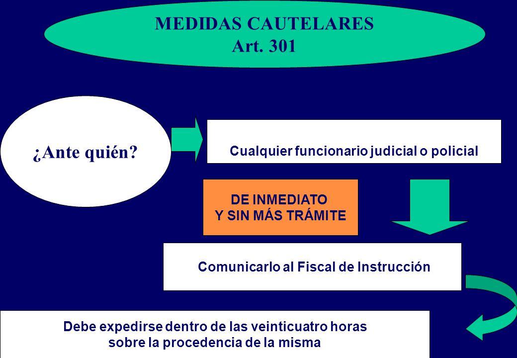 MEDIDAS CAUTELARES Art. 301 ¿Ante quién