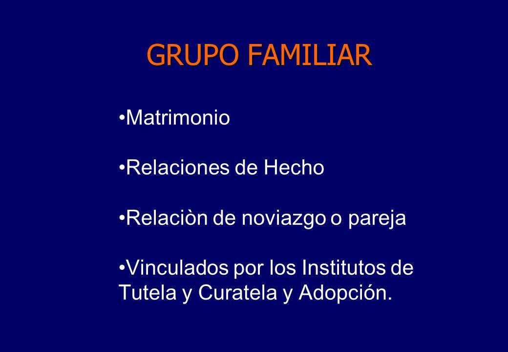 GRUPO FAMILIAR Matrimonio Relaciones de Hecho