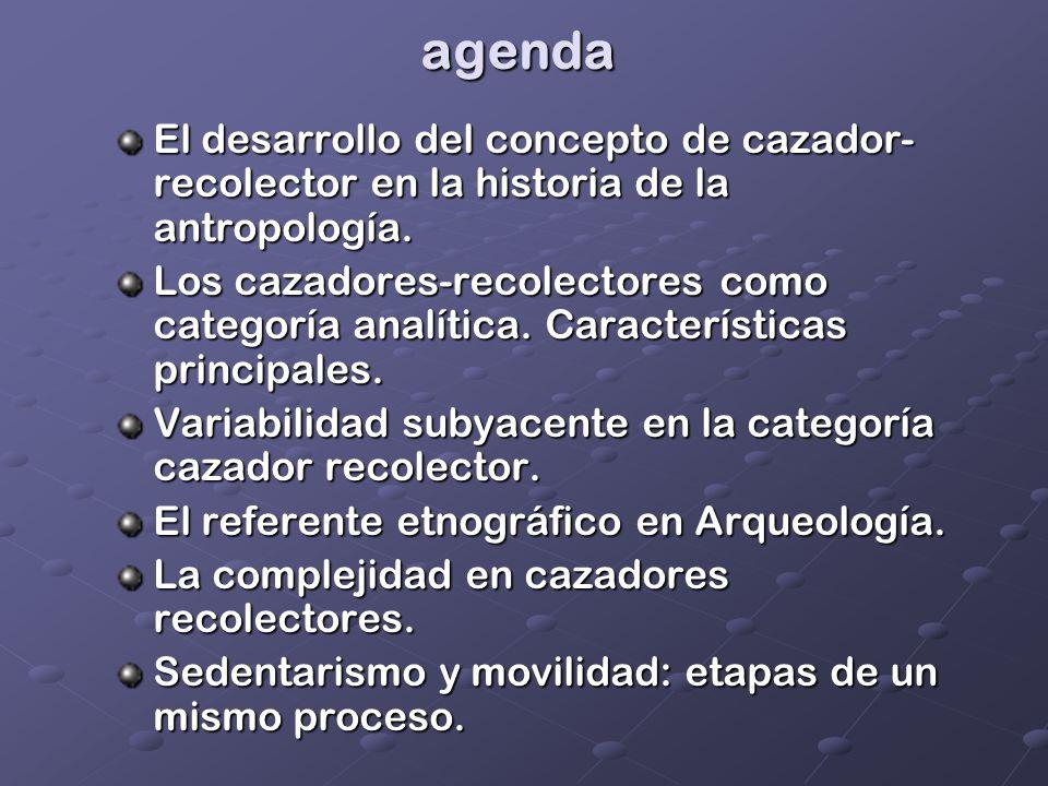 agenda El desarrollo del concepto de cazador-recolector en la historia de la antropología.