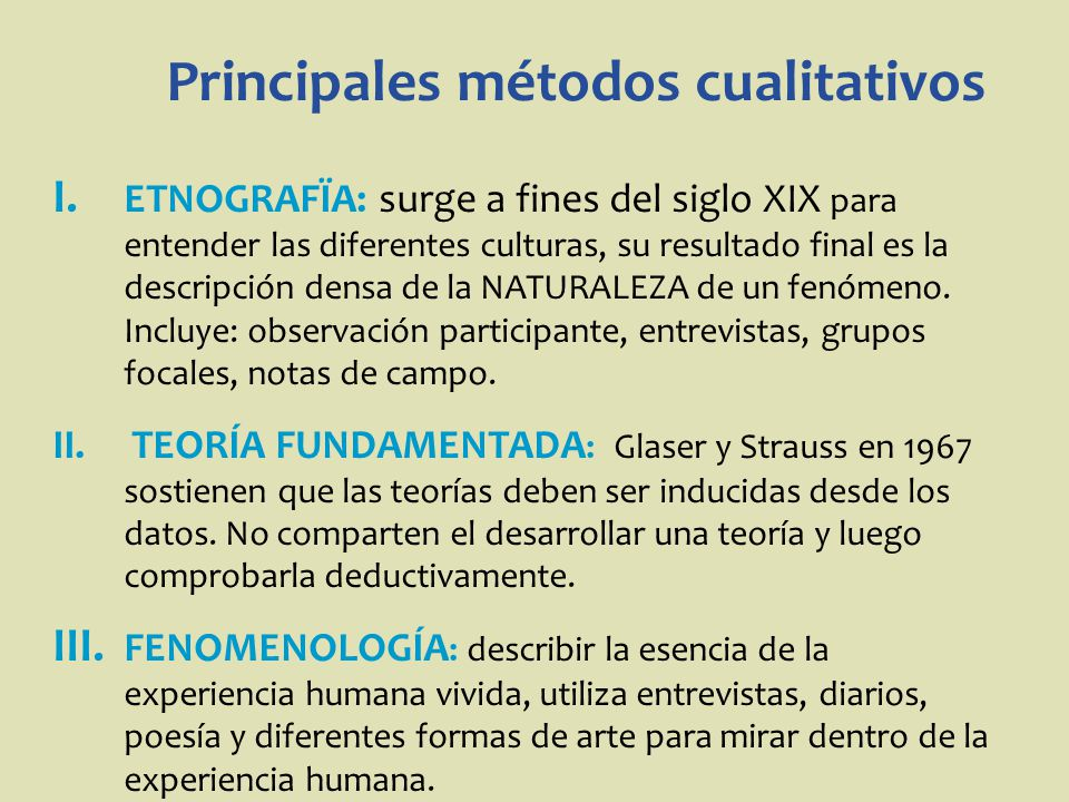 Principales métodos cualitativos