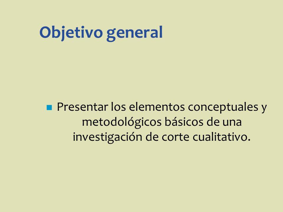Objetivo general Presentar los elementos conceptuales y metodológicos básicos de una investigación de corte cualitativo.